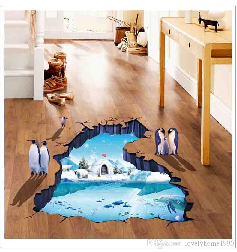 3D Polar Glacier Penguin Wall Stickers For Kids Rooms Home Decor Living Room Bedroom Muurstickers Voor Kinderen Kamers
