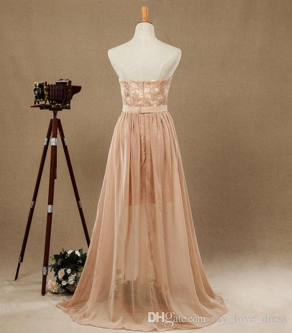 New Lace and Chiffon Sweetheart Strapless Prom Dress Sex Party dresses Short Dress with Long Chiffon See Through Bridesmaid Dresses