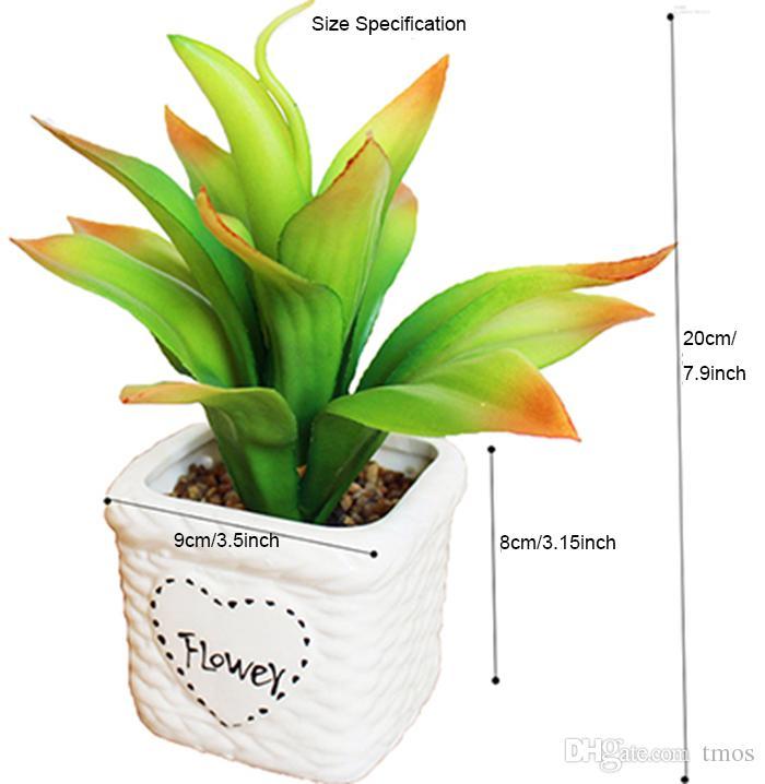 Artificial Ceramic Bonsai White Pots With Vivid Dynamic Leaves Plants DIY Small Planter Succulent Plants Decor Ornaments