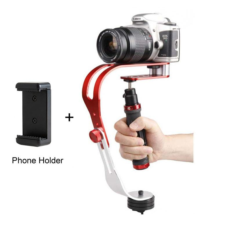 Wholesale- Alloy Aluminum Mini Handheld Digital Camera Stabilizer Video Steadicam Mobile DSLR 5DII Motion DV Steadycam + Smartphone Clamp