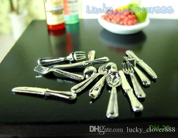 1:12 Dolls house kitchen accessories mini model dollhouse Miniature cookware dinner decor - 12pcs knives forks Spoons set Utensils toy gift