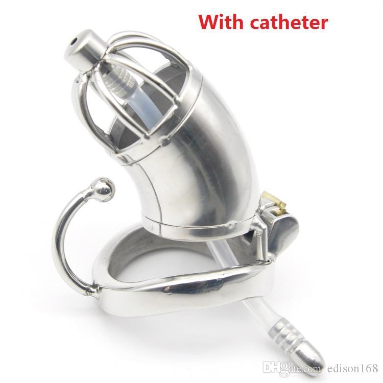 Ruhende Verschluss-Entwurf Medium Male Edelstahl Cock Cage mit dem Katheter Penis Non-Slip Ring Keuschheitsgürtel Gerät BDSM Sex Toy C278