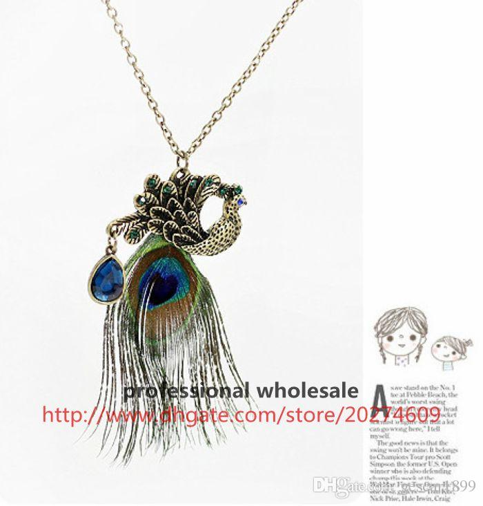 Hot Sale New Style Alloy Peacock Feather Rhinestone Blue Gemstone Pendant Sweater Chain Necklace Jewelry For Woman