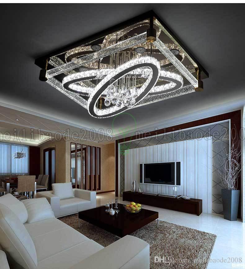 BE50 بسيط الحديثة الإبداعية مستطيلة ضوء السقف البيضاوي الصمام الكريستال مصابيح غرفة المعيشة مطعم غرفة نوم فندق أضواء السقف الإضاءة