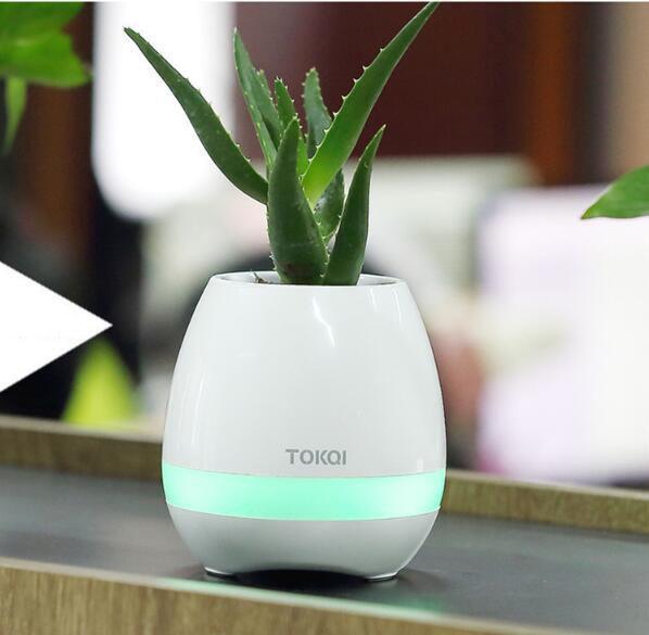 TOKQI Bluetooth Smart Pots de fleurs de musique Intelligent Aucune plante Touch Play Flowerpot Lumière colorée Longtemps jouer Bass Speaker NO logo