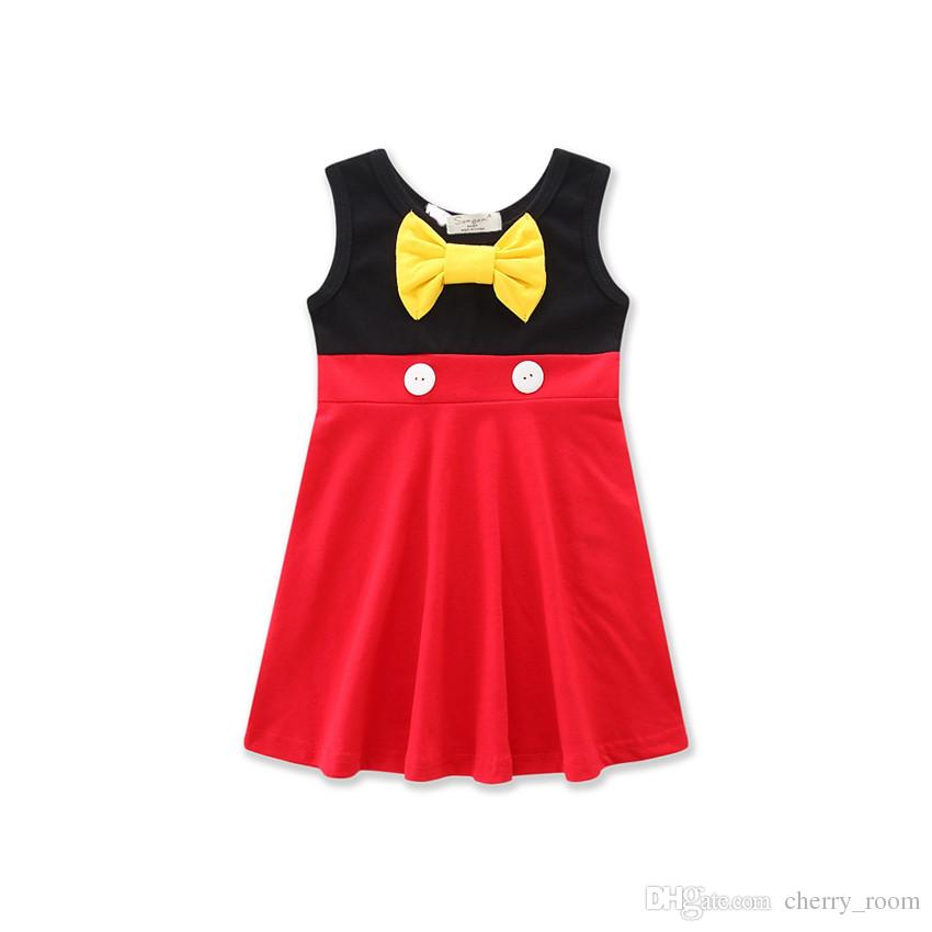 Verão Dos Desenhos Animados Vestido de Bebê Meninas Vestidos de Princesa Branca Mickey Sereia Arco Belle Crianças a-line dress C1703