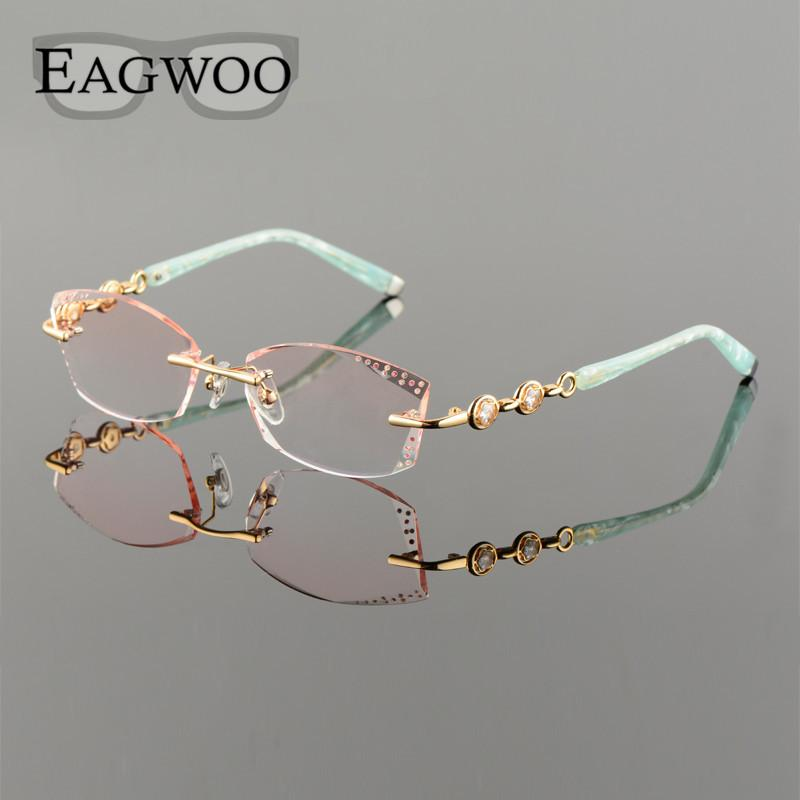 3e2d28c1e40 2019 Wholesale Titanium Alloy Eyeglasses Women Rimless Prescription Reading  Myopia Progressive Glasses Yellow Spectacle With Color Lenses258102 From ...