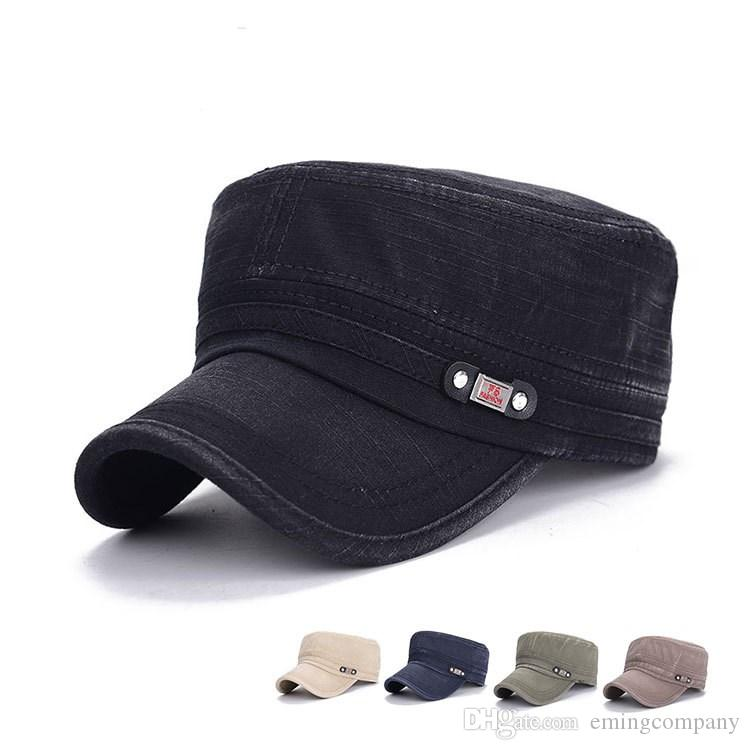 40853d9e637 Quality Designer Washed Denim Military Caps Adjustable Strapback For Adults  Mens Womens Cotton Army Hats Sports Man Woman Sun Visor Sale Baseball Caps  For ...