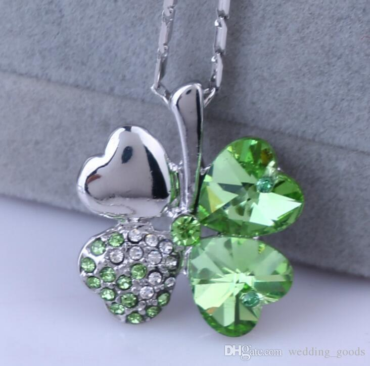 Fashion OL Austrian Crystal Lucky Clover Necklace Women's Sweet Alloy Item WFN053 with chain a