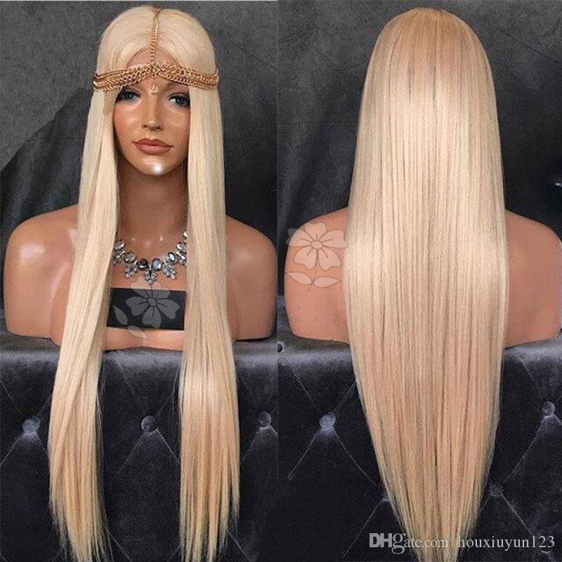 Soft Long Silver Platinum Blonde Lace Front Lace Wigs Synthetic Ash Blonde Straight Heat Resistant Fiber Medium Parting Wigs For Black Women
