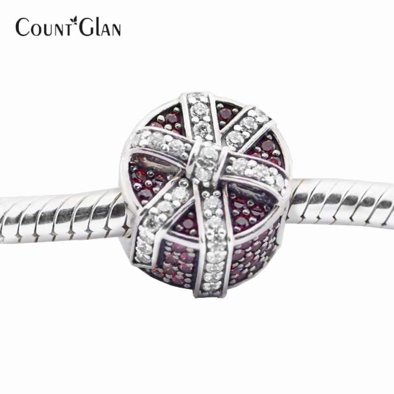Pırıltılı Hediye Kırmızı Temizle CZ Boncuk Pandora Charms Bilezik Uyar Orijinal Gümüş 925 Charm Boncuk Takı Yapımı Için 2016 Tatil