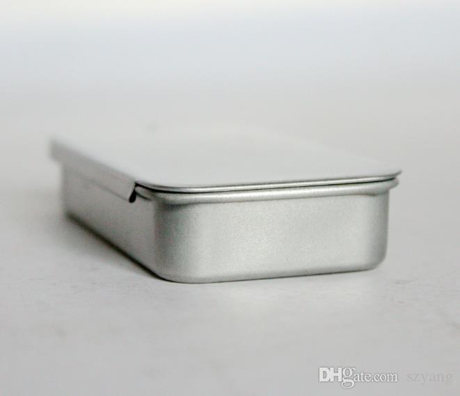 Toptan 1000 adet / grup Hızlı kargo düz gümüş renk slayt üst teneke kutu, dikdörtgen şeker usb kutusu kasa