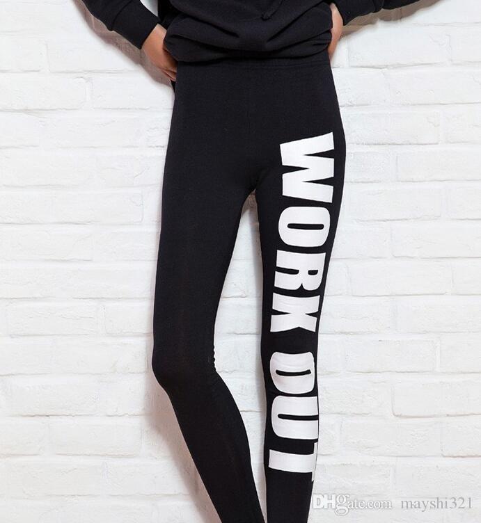 Roupas esportivas sexy carta de treino de impressão de algodão yoga leggings calças de fitness yoga calças de treino de esportes um tamanho