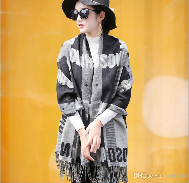 Condizionatore d'aria sciarpa scialle femminile di autunno e l'inverno double - face versione han del warm lettera cashmere e scialle oversize
