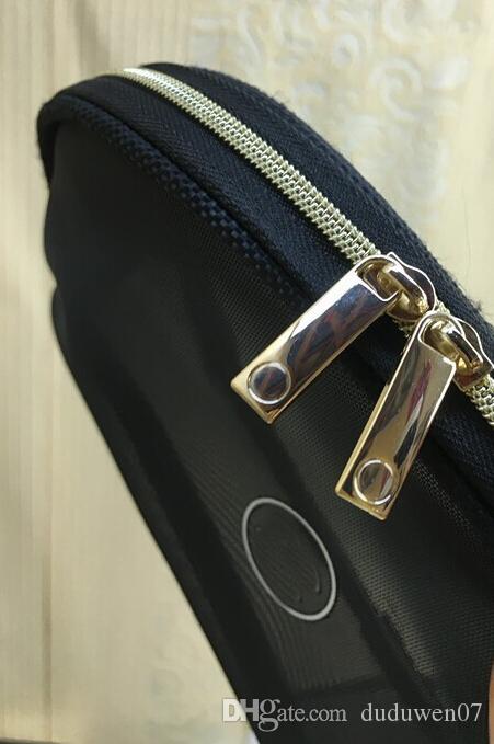 NEW C الأزياء الأسود شبكة سحاب حقيبة أنيقة الشهير قضية الجمال مستحضرات التجميل ماكياج الفاخرة حقيبة منظم مصمم الزينة هدية حالة VIP
