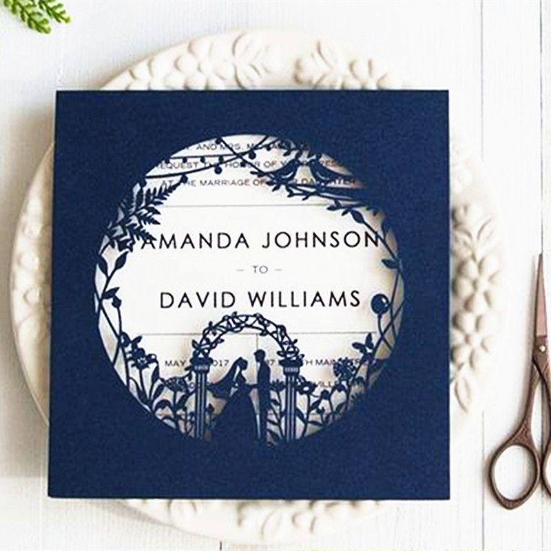 Navy Blue Birde Groom Wedding Invitation Card Envelopes Garden Theme ...