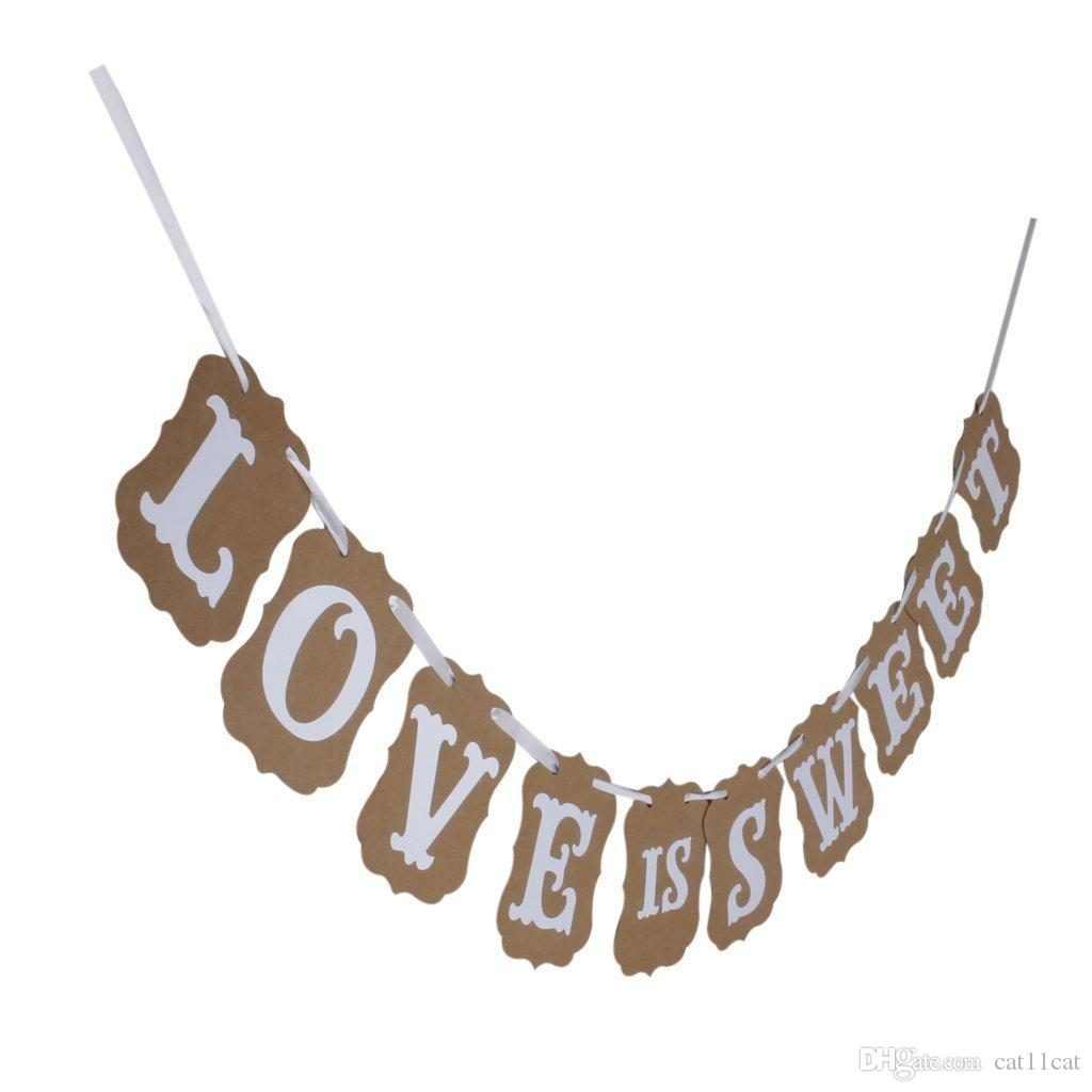 2019 Love Is Sweet Vintage Wedding Bunting Banner Photo Booth Props