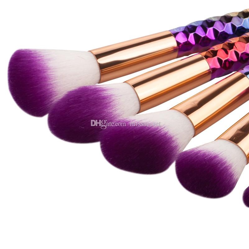 Thread Makeup Brushes Set Rainbow/ Rose Gold Cosmetic Mermaid Tail Oval Brush Make up Tool Kit Scales Horn Collection DHL Free