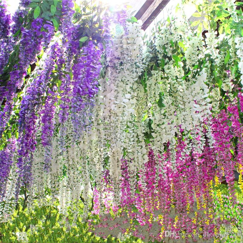 Romantic artificial flowers simulation wisteria vine wedding romantic artificial flowers simulation wisteria vine wedding decorations long short silk plant bouquet room office garden bridal accessories fairytale junglespirit