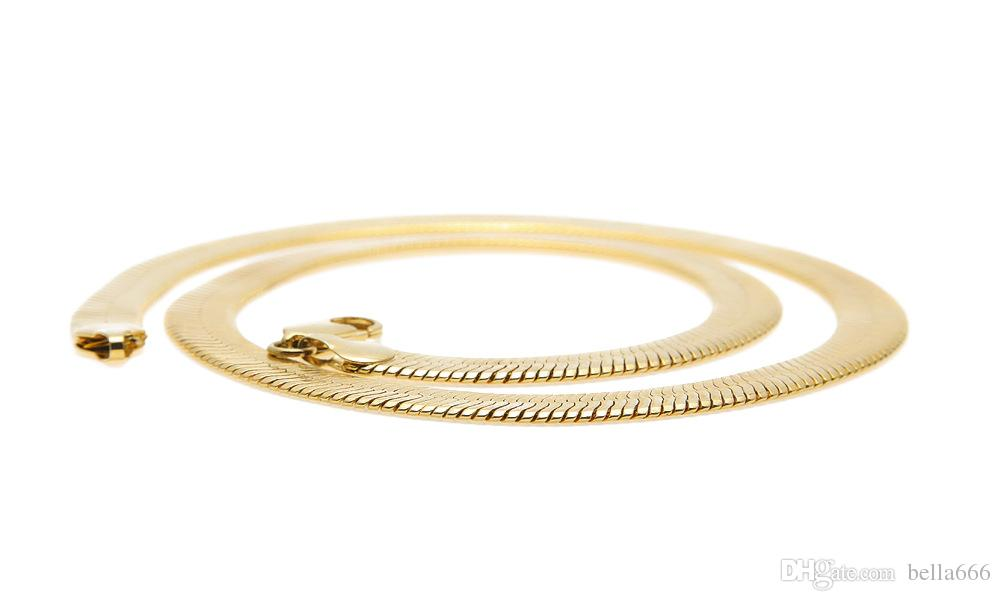 High Quality Copper Flat Snake Bone Chains Men Women Hip Hop Gold Plated Short Clavicle Blade Chain Necklace Jewelry