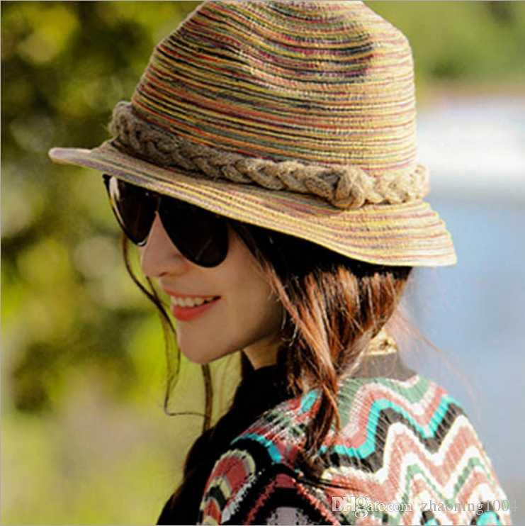 acc099f16dc Designer Laides Colorful Wide Brimmed Straw Beach Bucket Hats For Adult Women  Foldable Summer Sun Visors UV Protect Woman Honey Fishing Cap Church Hats  ...