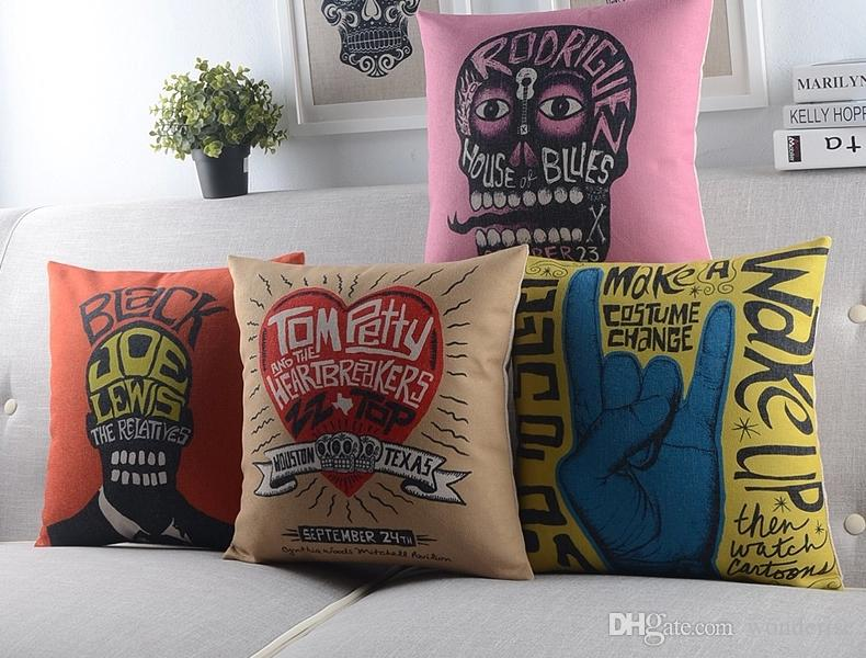 patio cushions style british rock roll style cushion cover creative english letters