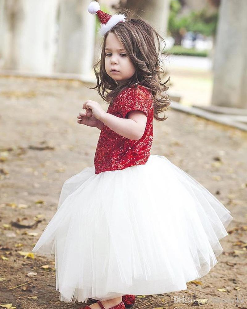 Lovely Flower Girls Dresses Jewel Red Sequin Top and White tulle Skirt Custom Made Tiered Ruffle Baby Dress Kids Formal Dress Custom Made