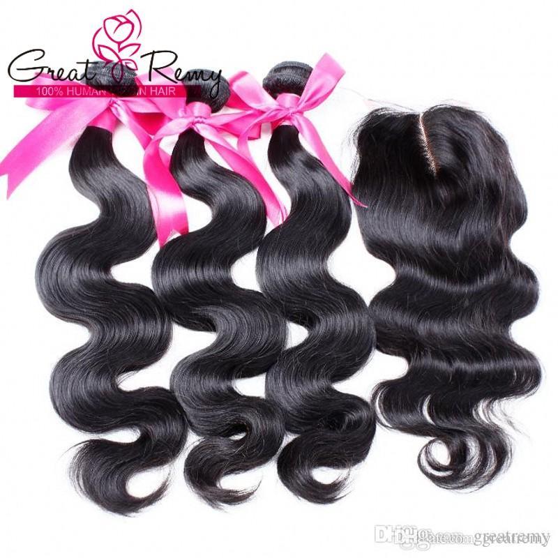 Tejido de pelo virgen 100% sin procesar Extensiones de cabello humano Indio de color natural onda de cuerpo trama de cabello + Cierre 4