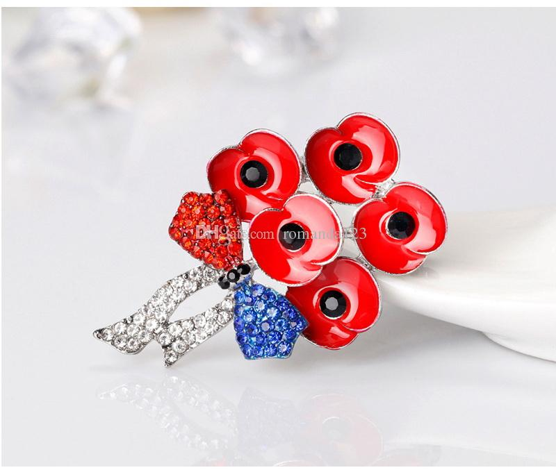 New Style Red Enamel Flower Poppy Brooch Rhinestone Bowknot Badge Collar Pins Suit Accessories for Women Men Jewelry