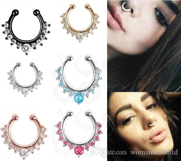 e03aac78d84 2019 Crystal Nose Rings Body Piercing Jewelry Fashion Jewelry Stainless  Steel Nose Open Hoop Ring Earring Studs Fake Nose Rings Non Piercing Ring  From ...