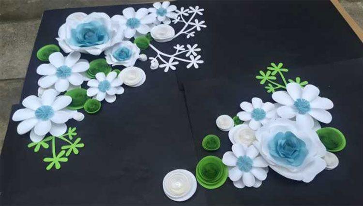28 stücke set Große Simulation Karton Papier Mix Styles Farben Blumen Schaufenster Hochzeit Hintergrund Hintergrund Dekoration Bühne Requisiten Deco
