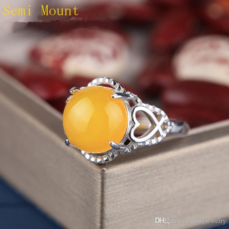 Real Sterling Silver 925 Plated White Gold Semi Mount Engagement Ring for Round Cabochon 11x11mm Amber Agate Opal Lapis Lazuli Setting