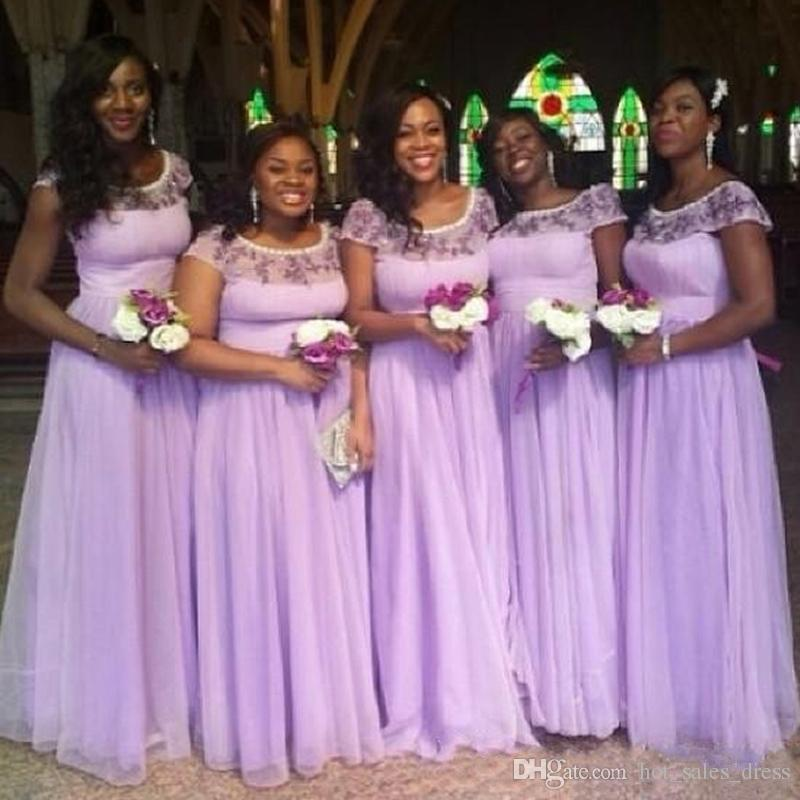 2017 Stunning Lilac Bridesmaid Dress Plus Size Long Formal Prom ...