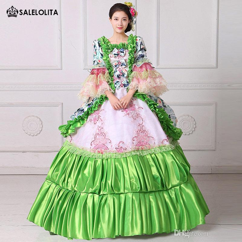 2017 Brand New Green Floral Printed Masquerade Ball Gown Southern Rococo  Belle Dress Reenactment Theatrical Clothing Vestido
