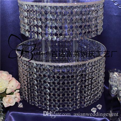 3 Camadas Rodada de Casamento claro Suporte do bolo com pendurado Acylic Cristal Frisado Centros De Mesa De Casamento-D 16