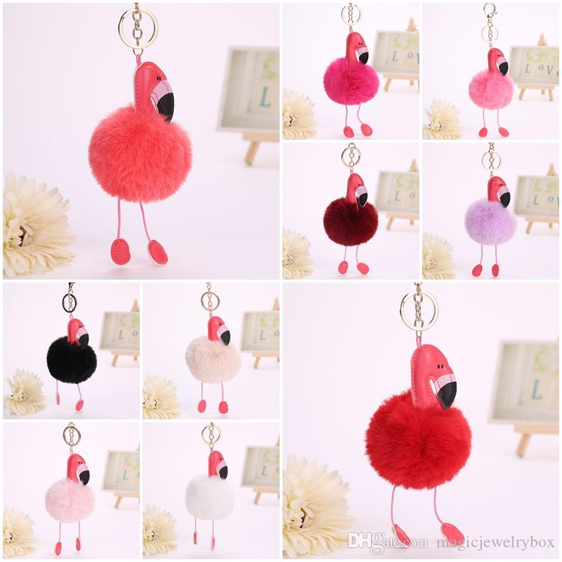 Flamingo portachiavi Pu catena Birds pelle Portachiavi Pompon pelliccia Key Bag Donna copertura di fascino del pendente Accessori Chaveiro