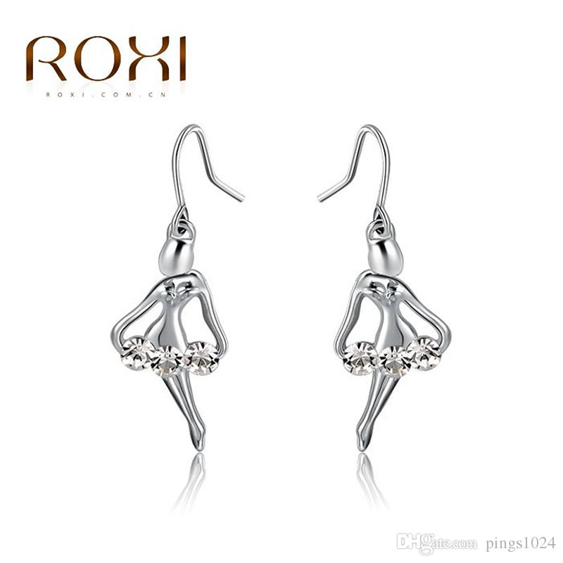 2017 ROXI Dancing Girl Earrings Genuine Austrian Crystals Hand Made Fashion Jewelry Angel Gold Plated Earring For Women