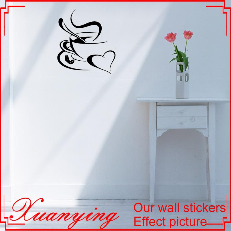 coffee cup heart sticker kitchen wall decal sticker art stickers for