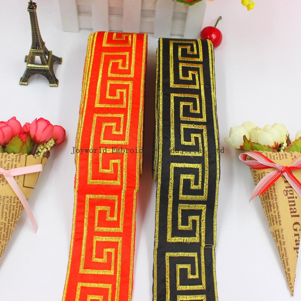 YACKALASI 6 Yardas / lote Cosplay Costume Band Trims oro bordado cinta Appliqued trenza de hierro en la correa de 5 cm de ancho