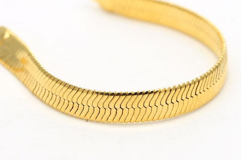 moda cadena de hueso de serpiente plano ancho lleno de oro pulsera de enlace de cadena de espina de pescado densa para hombres pulsera de hombre clásico hip hop fino jewerly