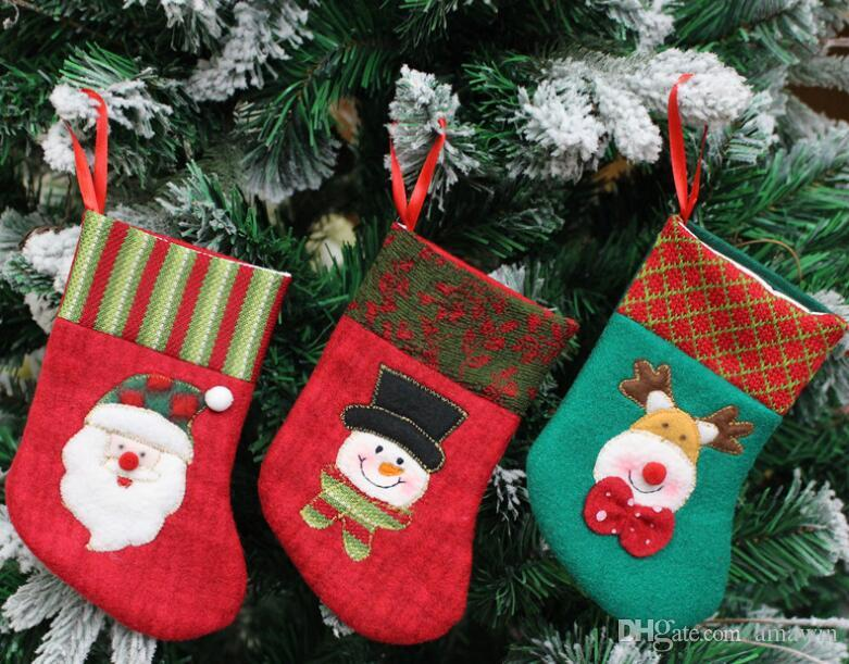 small new year small christmas stocking gift bags noel christmas decorations for home santa claus elk snowman hanging christmas stocking christmas tree
