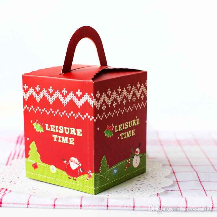 Christmas sweater decoration red green color hand portable cupcake box pudding box transparent window muffin cake boxes