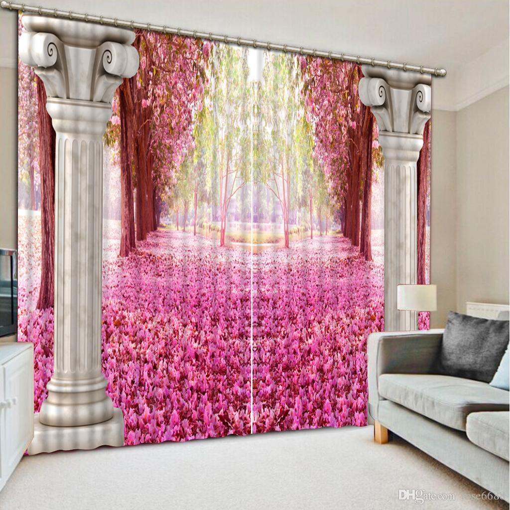 Großhandel Vorhänge Für Wohnzimmer Rosa Wald Benutzerdefinierte Vorhang  Mode Dekor Hause Dekoration Für Schlafzimmer Wohnzimmer Vorhang Von  Rose6688, ...