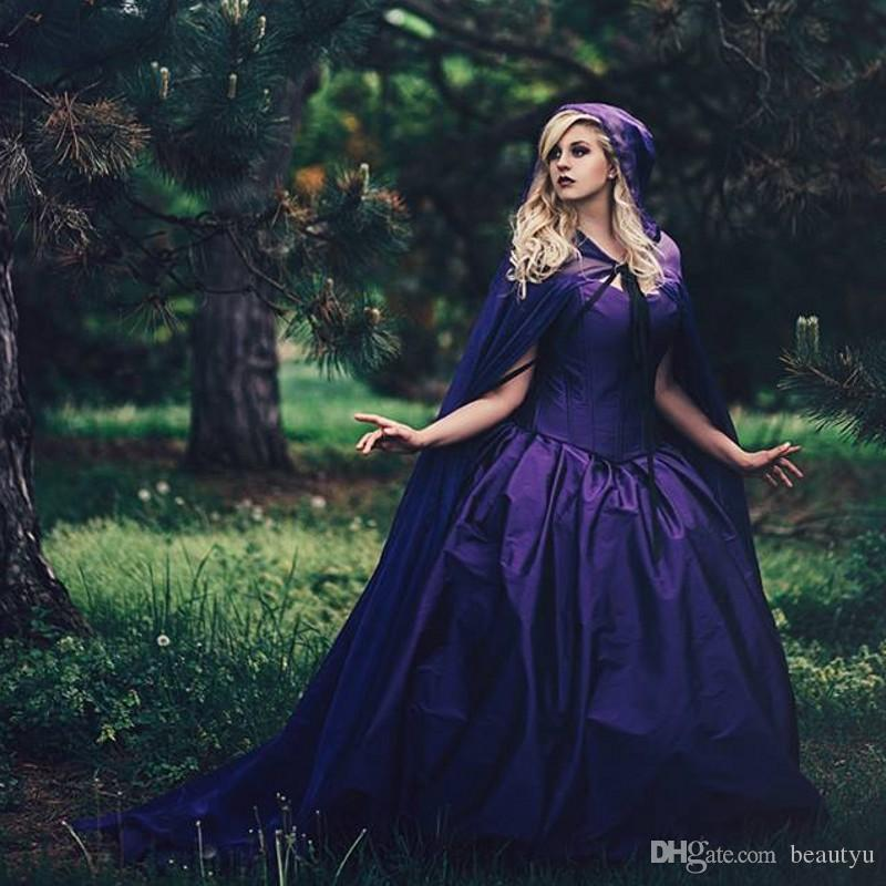 Vintage Purple Gothic Ball Gown Wedding Dresses With Cloak Removable ...