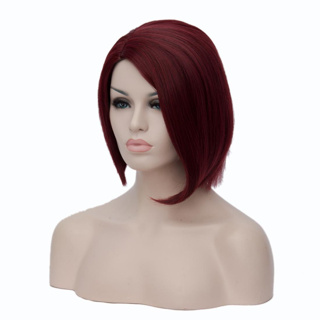 Wein Rot Asymmetrische Bob Kurze Perücken Gerade Hochtemperaturfaser Synthetische Haar Für Schwarze Frauen