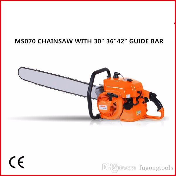 free shipping charge MS070 heavy gasoline chainsaw with30in 36inch 42inch  alloy bar and saw chain, 105cc 4 8kw made in china