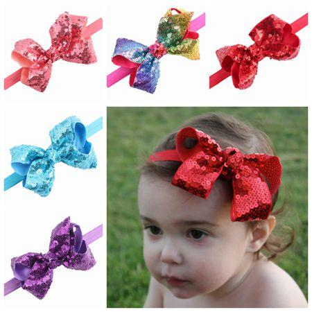 2018 baby sequin headbands for christmas hair bows cheer bow