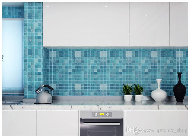 Bathroom Waterproof Wall Sticker PVC Mosaic Tile Wallpaper Kitchen Walls Paper Oil Proof Stickers Self Adhesive Wallpapers