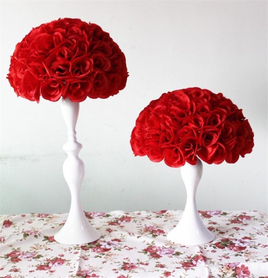 Discount 1025cm Artificial Flowers Ball Silk Rose Wedding Kissing ...