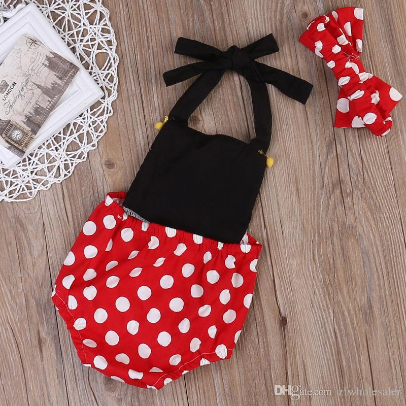 Baby Toddler Girl Clothes Infant Romper Dress Black Red White Mini Mouse Onesies Dot Jumpsuit Bodysuit Playsuit Boutique Kid Clothing Outfit